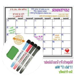 17x11 Weekly Calendar Dry Erase Magnetic Refrigerator White