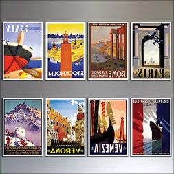 8 Vintage Travel Posters Fridge Magnets from Art Deco Period