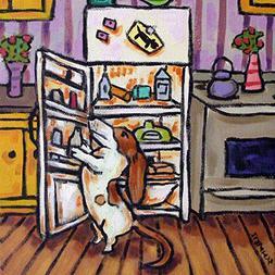 Basset Hound dog raiding the Fridge art tile coaster gift