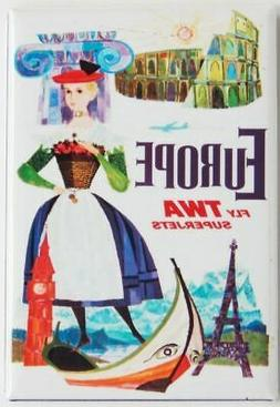 "Europe TWA Magnet 2""x3"" Refrigerator Locker Travel Poster Vi"