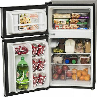 Stainless Steel Compact 3.2 Cu Fridge Office Small Cooler