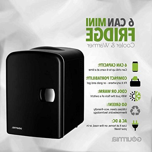 Gourmia Thermoelectric Fridge and - 4 Liter/6 Can - For Home,Office, Car, Dorm Compact Portable - Cords - Black