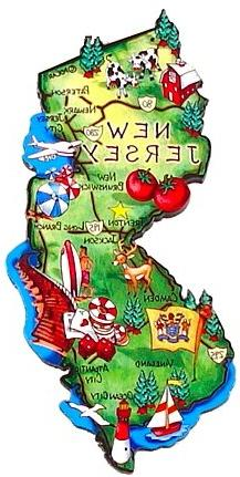 New Jersey Magnet - Large Map, New Jersey Magnets, New Jerse