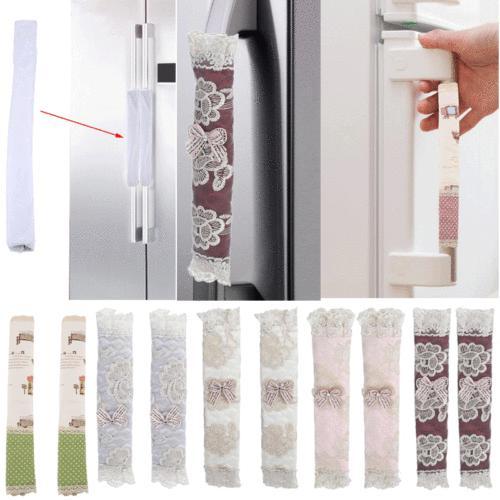 Kitchen Appliance Lace Handle Cover Decor Smudges Door Refri