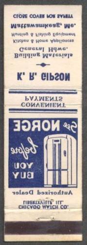 Norge Refrigerator Gipson Mattawamkeag ME matchcover