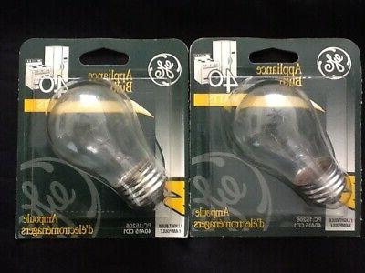 pack 2 a15 40w bulbs refrigerator oven