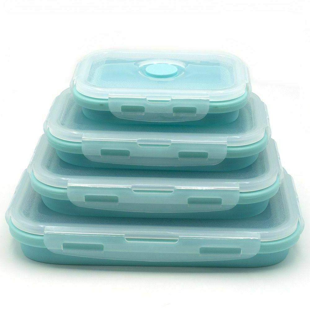 Silicone Food Box Fridge Lunch Boxes Seal Containers Set Fre
