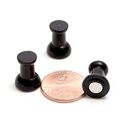Map Magnets - 24 Classic Tuxedo Black Magnetic Push Pins - F