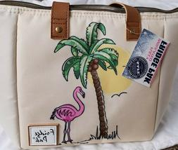 Pink Flamingo Tropical Lunch Tote Bag-  Insulated PVC Safe F