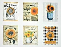 Set of Six Sunflowers Designs Farmhouse Decor Refrigerator F