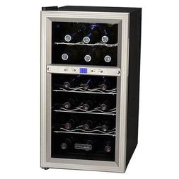 18 Bottle Stainless Steel Dual-Zone Wine Cooler, Compact Cou