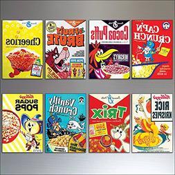 Vintage Cereal Box Fridge Magnets set of 8 large Retro Repro