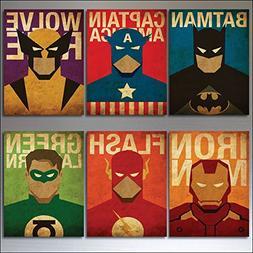 Vintage Super Hero and Villain Fridge Magnets - Set of 6 lar
